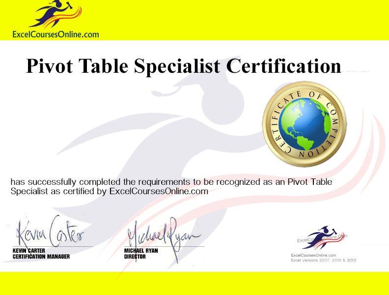 Pivt tables courses lndon
