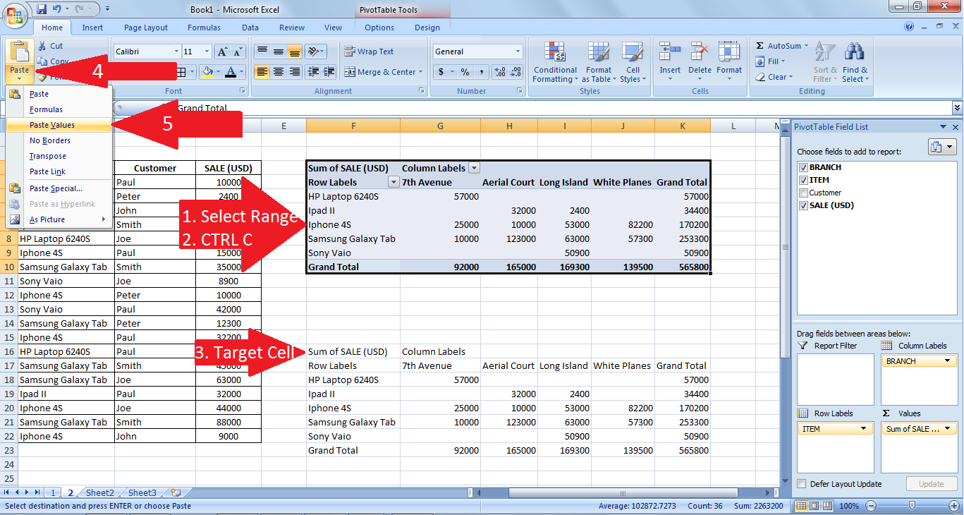 Copy your Pivot table