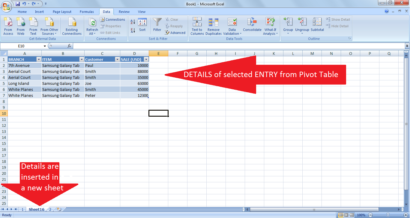 Drilling down in a Pivot table